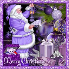 Punk Kerr: I love this purple Santa! Merry Christmas Quotes, 3d Christmas, Christmas Messages, Christmas Scenes, Christmas Pictures, Vintage Christmas, Coastal Christmas, Xmas Quotes, Merry Christmas Greetings