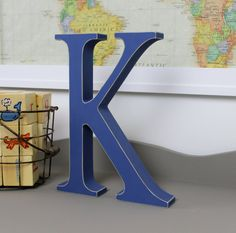 Wood Letters - Free Standing Distressed Wooden Letters - Alphabet Decor Letter K