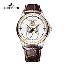Reef Tiger Mens Watches Moon Phase Big Date Steel Rose Gold White Dial Sale