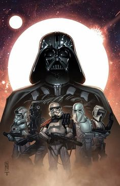 Star Wars - Darth Vader and Storm Troopers by Tom Hodges, colours by Juan Fernandez Theme Star Wars, Star Wars Film, Star Wars Fan Art, Star Wars Poster, Star Wars Darth, Star Trek, Star Wars Pictures, Star Wars Images, Star Wars Tattoo