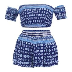 Ornate Print Off-Shoulder Top And Shorts Set ($17) ❤ liked on Polyvore featuring dresses and red