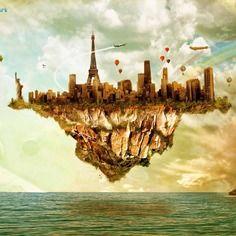 Affiche, illustration, déco, l'île volante  - 29,7 x 42 cm - décoration murale