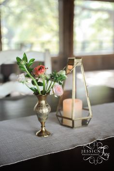Whim Florals | Vintage Gold Bud Vase with Ranunculus | Gold Faceted Lantern   Photography by Jessica Frey