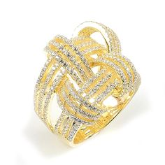 Sterling Silver Gold Plated and Cubic Zirconia Weave Basket Ring: Rings