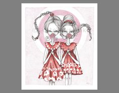 Lowbrow girls illustration art print with two by LotteTeussink