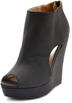 ShopStyle: Peep-Toe Cutout Wedge Bootie