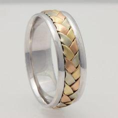 7mm 14K Tri Color Gold Hand-Woven Basket by WeddingRingsOutlet