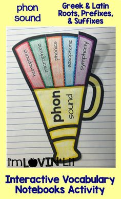 Phon - Sound; Greek and Latin Roots, Prefixes and Suffixes Foldables; Greek and Latin Roots Interactive Notebook Activity by Lovin' Lit