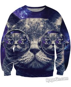 Hipster Cat Sweatshirt - Rage On! - The World's Largest All-Over Print Online Retailer.