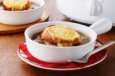 This from-scratch French onion soup takes only 20 minutes to prepare—and gets its deliciousness from a long, slow simmer in the slow cooker.