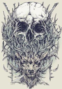 deer and skull