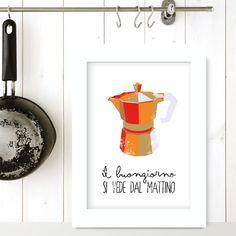 IL BUONGIORNO... - Coffee quote poster art print italian recipe print letterpress Kitchen vintage retro on Etsy, $26.00