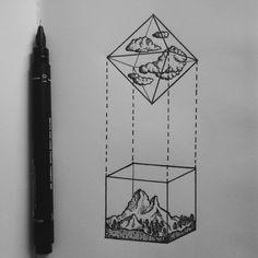 """alucinori: """" Octahedron representing Air and cube representing Earth ig: alucinori """""""
