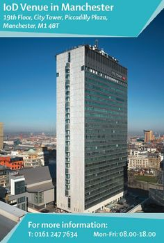 Our #Manchester #premises are in City Tower, which overlooks the #PiccadillyGardens area of the city. Minutes from #Piccadilly bus and train terminals, City Tower is truly in the heart of #Manchester. Nearby NCP parking is also available. Find out more: http://www.iod.com/your-venues-and-benefits/iod-venues/manchester