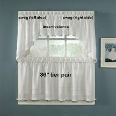 """36"""" Long Crochet White Tier Curtain Pair By Chf Industries by CHF Industries. $11.99. 1 pair of tiers only - 58"""" wide x 36"""" long. valance and swag sold separately. These crocheted window treatments will give your kitchen or bedroom an elegant and warm feel. Tiers available in 2 sizes: 58"""" wide x 24"""" long 58"""" wide x 36"""" long Valance measures 58"""" wide x 14"""" long Swag measures 58"""" wide x 30"""" long 80% Polyester/20% Cotton Machine Washable Made in China"""
