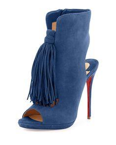 christian louboutin ottaka suede fringe red sole bootie