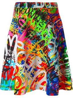 graffiti print skirt
