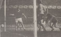 25 February 1975 Luton's Horn drops a corner kick leaving Martin Dobson to tap home Everton;s second