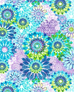 Colors only, not the print.   Tribeca Amanda - Kaleidoscope Floral - Turquoise