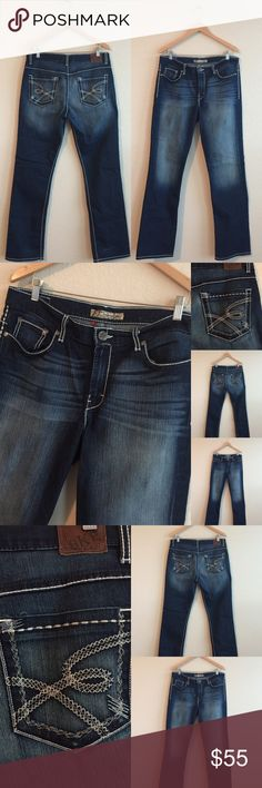 """BKE Jeans 💕 Metallic Silver Stitch, Sz 32 x 33.5 Pre-loved, but in """"like new"""" condition!  ❤️❤️❤️  Drew Boot Cut BKE Buckle Jeans! BKE Jeans Boot Cut"""