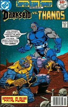 """Super-Team Family: The Lost Issues! Thanos in """"Fatal Flaw!"""" >>> Dunno if this ever happened, but it it did, I need to read it one of these days. Dc Comic Books, Comic Book Covers, Comic Book Characters, Comic Book Heroes, Comic Character, Marvel Vs, Marvel Fanart, Looney Tunes, Gi Joe"""