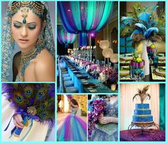 Purple, Aqua Blue, and Green Peacock Themed Wedding with Asian Touches