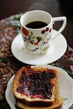 Wheat toast and jam with a cup of coffee