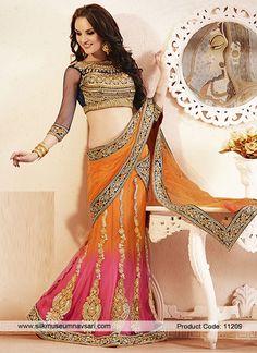 Nice Hot Pink, Navy Blue And Orange Embroidered Lehenga Choli
