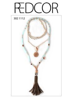 Redcor Kette mit Liebe von Hand gefertigt! - Halskette, Quaste, Leder, Buddha, Perlen