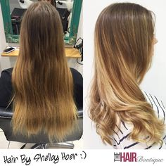 Stunning before and after shot by Shelby Hoer.  As you can see Shelby's client was in desperate need of help with her hair, luckily we were able to help!  Shelby gave her client this beautiful Balayage colour. She also improved the strength, condition and shine of the hair using Olaplex to rebuild the bonds from within.  The result looks beautiful and her client was delighted.