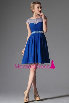 2016 Bateau Dark Royal Blue Beaded Neckline And Waistline Chiffon Short/Mini Homecoming Dress Princess With Ruffles