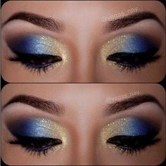 gold and blue eye makeup It's gorgeous ever though I won't wear it myself #blueeyemakeup #gorgeousmakeup
