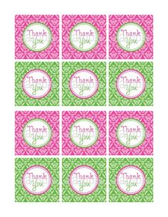 Printable Sweet 16 Pink Green Damask 2.25 Square Thank You Tags | aMerAZNStyLe - Digital Art  on ArtFire