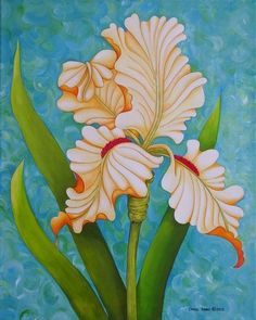 Yellow Iris - Original acrylic painting on canvas by the artist-Realism-Floral #Realism