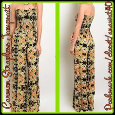 """Carmen Strapless Jumpsuit Carmen Strapless Jumpsuit This floral jumpsuit features a strapless style, loose comfy material. On bottom of pant there are slits. This jumpsuit measures is 56 """"inches.  100 % Polyester Pants Jumpsuits & Rompers"""