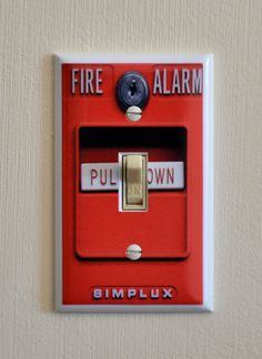 FIRE ALARM Switch Plate - Wall Plate Cover - mancave gag gift funny light kids room bedroom gift present fire fighter emt rescue Fireman Room, Firefighter Bedroom, Firefighter Decor, Firefighter Apparel, Firefighter Wedding, Volunteer Firefighter, Fire Truck Bedroom, Fire Truck Nursery, Boy Room
