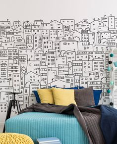 Black And White City Sketch Wall Mural For Teen Bedroom Decor A black and white city sketch wall mural is a bold idea for a teen or dorm bedroom. It works well with colorful touches. Black And White City, Black And White Wall Art, White Walls, Wall Murals Bedroom, Mural Wall Art, Pink Bedroom Decor, White Bedroom, Bedroom Ideas, Kids Bedroom