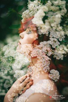 OKeyteam Портретная фотография, мультиэкспозиция, девушка, рыжие волосы, цветы, весна. www.okeyteam.com