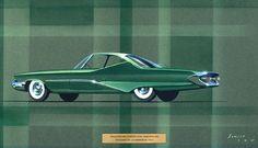 1960 DESOTO vintage styling design concept rendering sketch