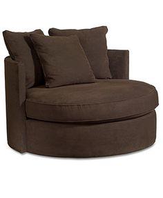 "Doss Godiva Fabric Microfiber Living Room Chair, Round Swivel 50\""W x 50\""D x 39\""H"