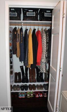 closet clean-out & DIY shoe shelves. : closet clean-out & DIY shoe shelves. Small Coat Closet, Front Closet, Hallway Closet, Closet Doors, Shoe Closet, Closet Office, Corner Closet, Closet Rod, Closet Space