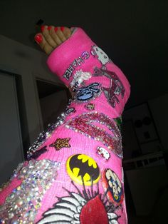 Swarvoski crystallized foot cast with added props. Shout out to my stefania- we may have to pimp ur cast for NOLA! Hobby lobby here we come. Broken Arm Cast, Broken Foot, Decorated Crutches, Mom Cast, All About Me Poster, Long Leg Cast, Cast Art, Wooden Walking Sticks, Moon Boots