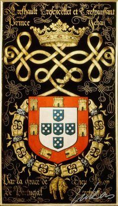 """(168) Jean III, roi de PORTUGAL (1502-1557) -- """"Treshault tresexcelle(n)t et trespuissant prince Jehan, par la grace Dieu roÿ de Portugal. Trespasse"""" -- Armorial plate from the Order of the Golden Fleece, 1559, Saint Bavo Cathedral, Gent -- Panneau de trépassé."""