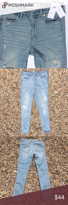 """AF Destroyed High Rise Skinny Jeans Abercrombie & Fitch destroyed light wash supper skinny high rise jeans. Fabric behind some of the destroyed area on legs, but looks like the can be easily removed if you prefer to show skin. Waist 27"""", length 29"""". New With Tags. Jeans Skinny"""