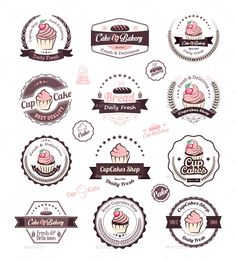 Buy Cupcakes Vintage Labels by Avantgraph on GraphicRiver. Vintage retro cupcakes bakery badges and labels Vector cupcakes is an vintage badges and labels. Cake Logo Design, Logo Design Template, Label Design, Web Design, Cupcake Logo, Cupcake Shops, Cupcake Icon, Dessert Logo, Logo Café