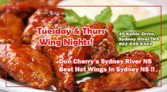 Best hot wings in Sydney NS $7.99 + tax TUES/THURS ~ Don Cherry's Sports Grill in Sydney River!  What are you waiting for.. we are waiting for you :) Cheers!  #hotwings #hotwingscapebreton #chickenwings #pubfood #sportsgrill
