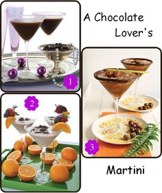 Specialty signature drink for #Weddings - 3 Chocolate Martini Recipes. Yum!