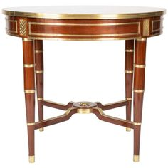 A Russian neo-classical mahogany center table with brass mountings. century and later. H x Diam. Furniture Styles, Furniture Design, Neoclassical Interior, Classical Elements, Grand Homes, Coffe Table, Center Table, Antique Furniture, 19th Century