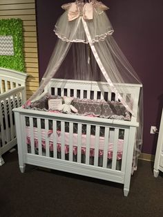 Superieur Grey And Pink Satin Crib Bedding Set With A Geometric Fabric And Ruffles On  Display At