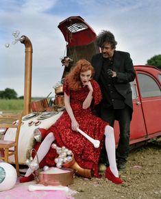 Tim Burton & Karen Elson with bone on bonnet, Suffolk, UK, 2008, British Vogue